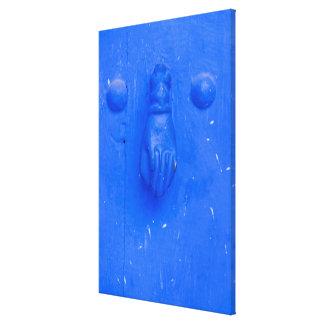 Vertical Blue Door Knocker Canvas Print