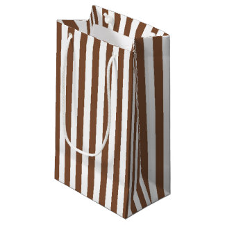 Vertical Brown and White Stripes Small Gift Bag