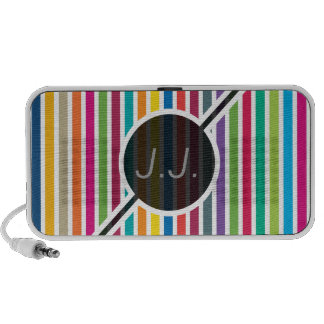 Vertical Candy Stripes - Custom Text iPod Speakers