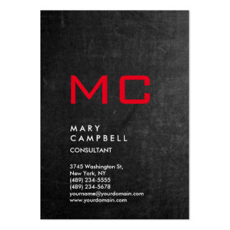 Vertical Chalkboard Grey Red Trendy Monogram Pack Of Chubby Business Cards