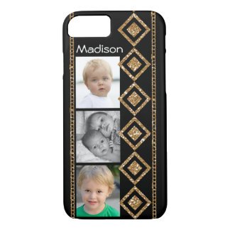 Vertical Gold Diamonds & Chains w/ Photos iPhone 8/7 Case