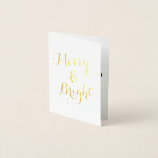 Vertical Gold Merry and Bright Christmas Foil Card