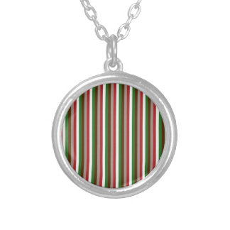 Vertical Holiday Stripes Round Pendant Necklace