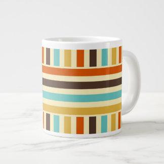 Vertical Horizontal Stripes Blue Yellow Red Jumbo Mug