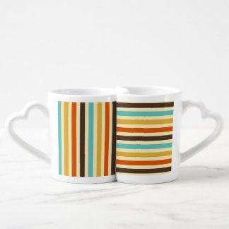Vertical Horizontal Stripes Blue Yellow Red Lovers Mug Sets