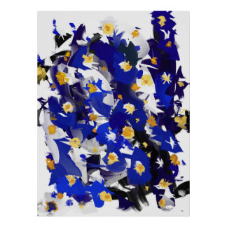 "Vertical, large poster model, ""Blue Flowers """