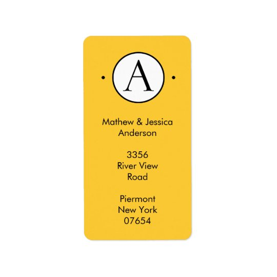 Vertical Letter A  Circle Monogram Address Labels. Label