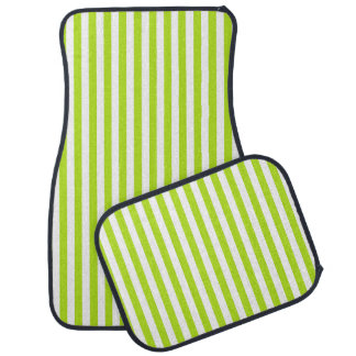 Vertical Lime Green and White Stripes Car Mat