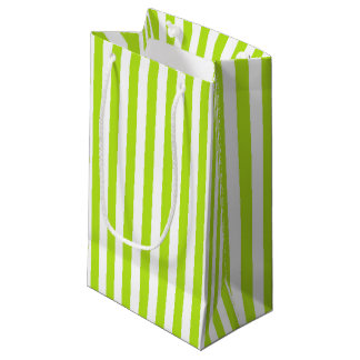 Vertical Lime Green and White Stripes Small Gift Bag