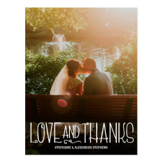 Vertical Love and Thanks Wedding Thank You Card