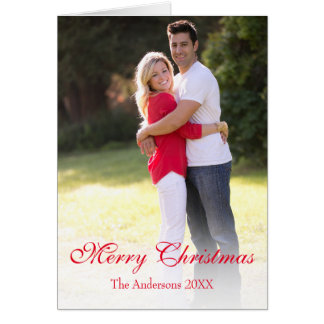 Vertical Merry Christmas Red Holiday Photo Card