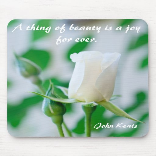 Vertical Mousemat White Rose & Keats Quote