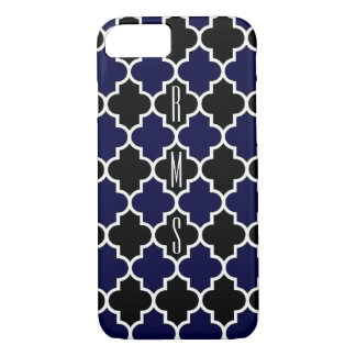Vertical Navy Blue and Black Monogram iPhone7 Case