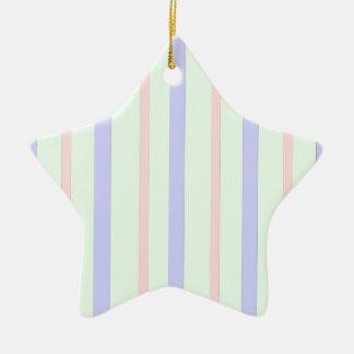 Vertical Pastel Stripes Ceramic Ornament