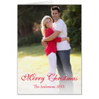 Vertical Photo Red Merry Christmas Greeting Card