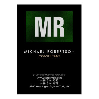Vertical Quality Black Green Monogram Unique Pack Of Chubby Business Cards