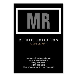 Vertical Quality Black Grey Monogram Unique Pack Of Chubby Business Cards