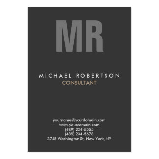 Vertical Quality Grey Monogram Unique Pack Of Chubby Business Cards