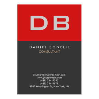 Vertical Quality Red Grey Monogram Unique Pack Of Chubby Business Cards