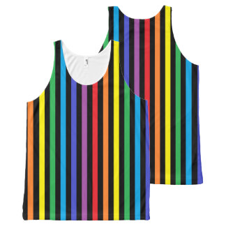 Vertical Rainbow and Black Stripes All-Over Print Singlet