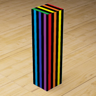 Vertical Rainbow and Black Stripes Wine Gift Box