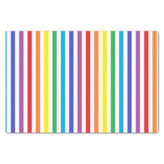 Vertical Rainbow and White Stripes Tissue Paper