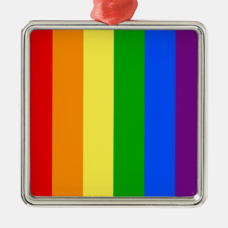 """VERTICAL RAINBOW STRIPES"" Silver-Colored SQUARE DECORATION"