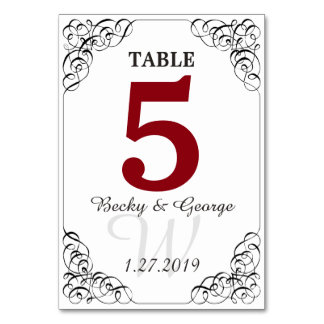 Vertical Red and White Table Card