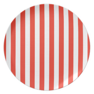 Vertical Red Stripes Plate