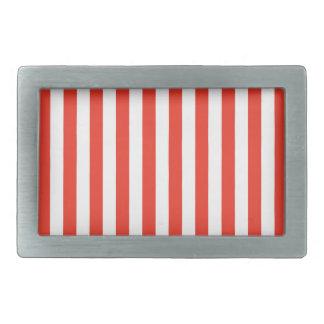Vertical Red Stripes Rectangular Belt Buckle