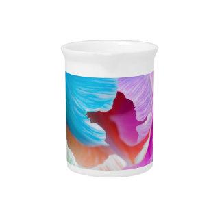 Vertical shoot of unusual multi colored tulip beverage pitcher