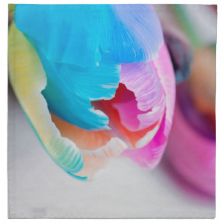 Vertical shoot of unusual multi colored tulip napkin