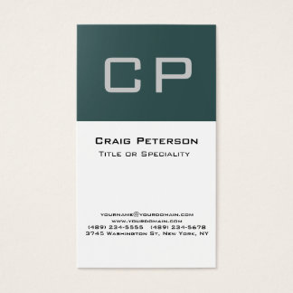 Vertical Slate Gray White Monogram Business Card