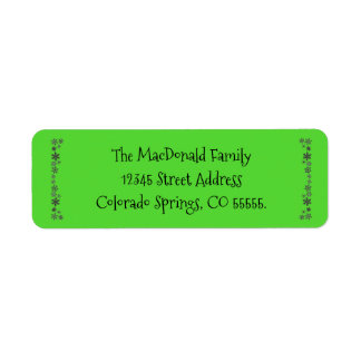 Vertical Snowflakes Green - Return Address Label