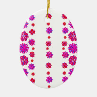 Vertical Stripes Floral Pattern Collage Ceramic Ornament