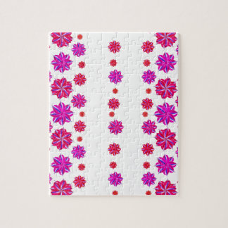 Vertical Stripes Floral Pattern Collage Jigsaw Puzzle