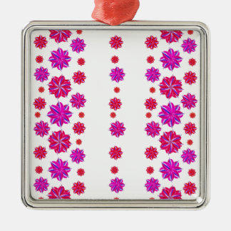 Vertical Stripes Floral Pattern Collage Metal Ornament