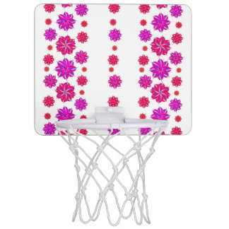 Vertical Stripes Floral Pattern Collage Mini Basketball Hoop
