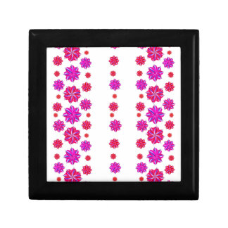 Vertical Stripes Floral Pattern Collage Small Square Gift Box