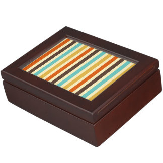 Vertical Stripes Retro Colors Blue Yellow Red Keepsake Boxes