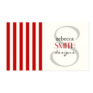 Vertical Stripes White, Red Business Card