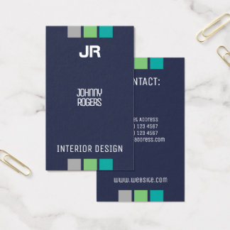 Vertical style with initials navy blue business card