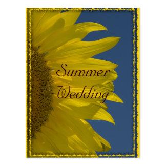 Vertical Sunflower Summer Wedding Announcement Postcard