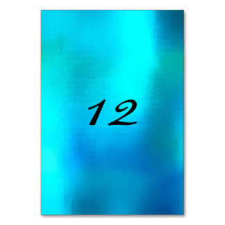 Vertical Table Number Beach Ocean Blu Turquoise Table Cards