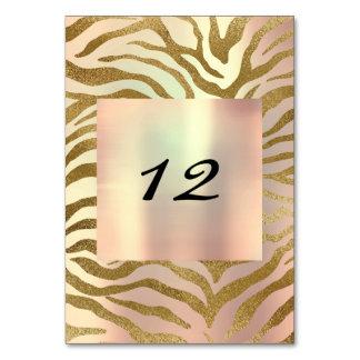 Vertical Table Number Gold Wild Blush Safari Gold