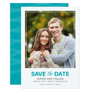 Vertical Turquoise Teal Save the Date Photo Card