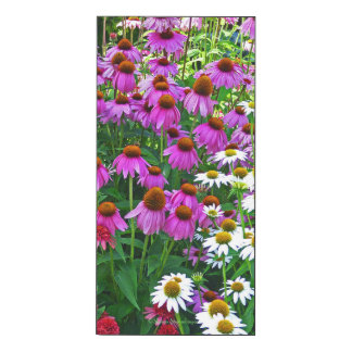 VERTICAL WALL PANEL/ PURPLE AND WHITE CONEFLOWERS