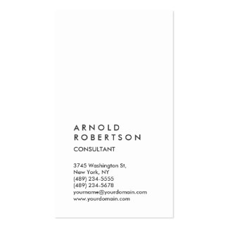 Vertical White Trendy Consultant Business Card