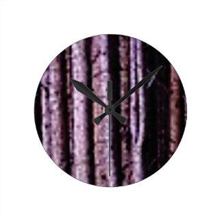 vertical wood lines round clock