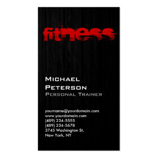 Vertical Wood Pattern Grey Fitness Business Card